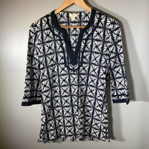 J. Crew Factory Printed Tipped V-neck Tunic XS